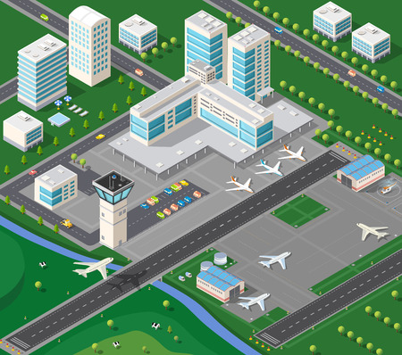 aerodrome: 3D isometric industrial landscape of the city airport with the aircraft, the runway and the terminal building travel