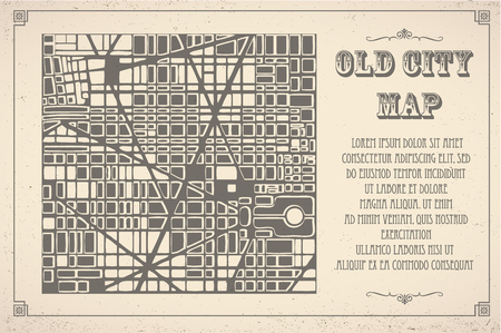 fictional: Retro map of the city. Editable vector street map of a fictional generic town. Abstract urban background.