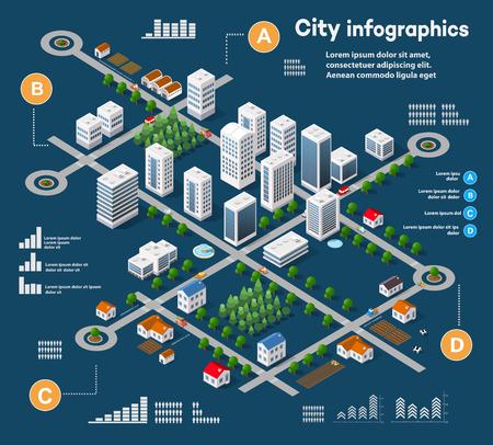 3D isometrico città infografica tridimensionali tra grattacieli, case e negozi con strade e alberi nella zona della città con i grafici e diagrammi concettuali di business