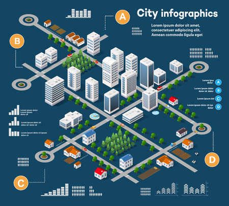 3D-Stadt isometrische dreidimensionale Infografiken einschließlich Wolkenkratzer, Wohnungen und Geschäfte mit Straßen und Bäume im Bereich der Stadt mit den Geschäfts konzeptionellen Graphen und Diagrammen