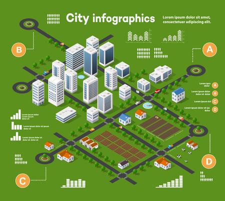 Miasta 3D izometryczne infografiki trójwymiarowe włączając wieżowce, domach i sklepach z ulic i drzew na terenie miasta z biznesowych wykresów i schematów pojęciowych Ilustracje wektorowe