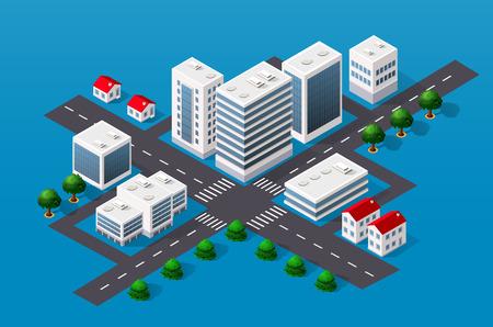 Isometrischen 3D-Stadtansicht Blick auf die Spitze der Haus- und Straßenbäume