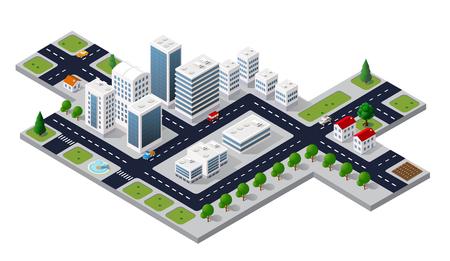Vista di paesaggio urbano isometrica 3D della cima degli alberi di casa e di strada