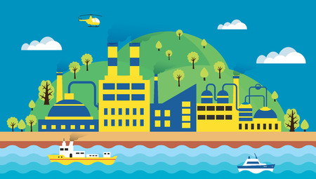 sea pollution: Urban landscape of the city. Ecology, environmental protection: the production, factory, pollution, smoke, building. The sea with merchant ships and waves. Vector illustration flat