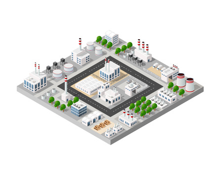 The perspective view of the landscape of industrial objects plants, factories, parking lots and warehouses. Isometric top view the city with streets, buildings and trees. 3D city construction industry Ilustracja