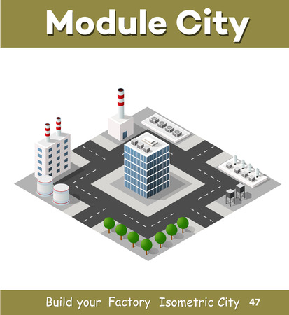 industrial construction: The perspective view of the landscape of industrial objects plants, factories, parking lots and warehouses. Isometric top view the city with streets, buildings and trees. 3D city construction industry Illustration