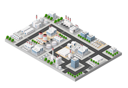 The perspective view of the landscape of industrial objects plants, factories, parking lots and warehouses. Isometric top view the city with streets, buildings and trees. 3D city construction industry Illustration