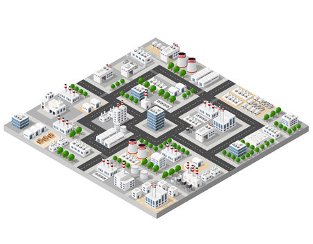 The perspective view of the landscape of industrial objects plants, factories, parking lots and warehouses. Isometric top view the city with streets, buildings and trees. 3D city construction industry Stock Illustratie