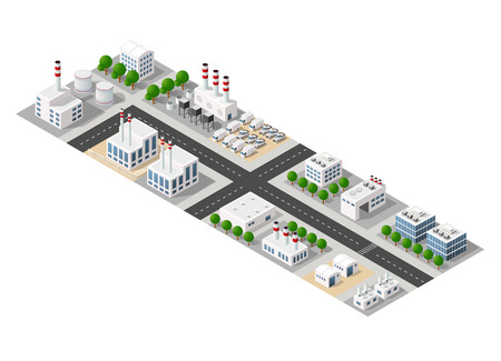 The perspective view of the landscape of industrial objects plants, factories, parking lots and warehouses. Isometric top view the city with streets, buildings and trees. 3D city construction industry Ilustração