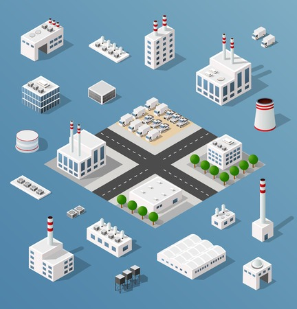 hangar: The 3D perspective view of a set of objects of industrial plants, factories, parking lots and warehouses. Isometric view from above the city with streets, buildings and trees.