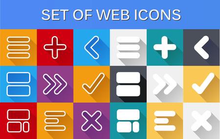 그림자와 평면 컴퓨터 웹 아이콘 스타일의 집합
