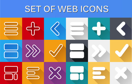 A set of computer web icons style flat with shadow Illustration