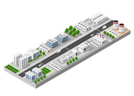 Top view of the city and the construction industry with isometric factories, mills, boilers and warehouses.