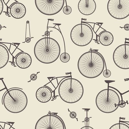 velocipede: Background bicycle seamless repeating pattern in vintage retro style