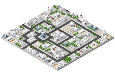 Top view of the construction industry and with 3d isometric factories, mills, boilers and warehouses. Illustration