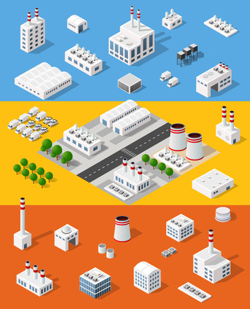 hangar: Set of objects top view of the construction industry and with isometric factories, mills, boilers and warehouses.