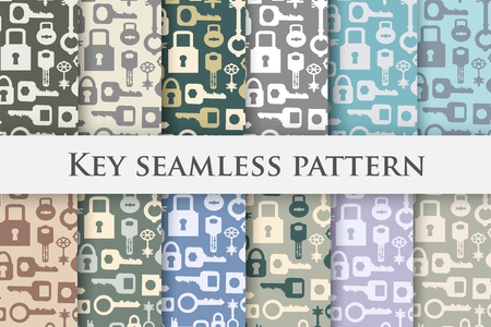 retro backgrounds: Set Backgrounds key repeating seamless pattern in vintage retro style