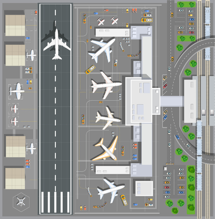Airport passenger terminal top view. The runway of the aircraft. Buildings hangar for airplanes and helicopter landing pad. Railway station with train and parking with cars. Stock vector illustration Stock Vector - 67481226