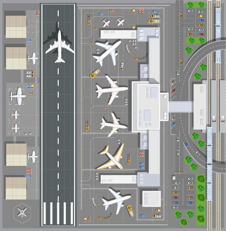 passeggero terminal dell'aeroporto vista dall'alto. La pista del velivolo. Edifici hangar per aeroplani e pista per elicottero. Stazione ferroviaria con il treno e il parcheggio con le automobili. illustrazione Archivio vector Vettoriali