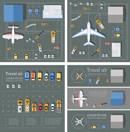 Widok z góry terminala pasażera na lotnisku. Linia startowa samolotu. Budynki hangarowe dla samolotów i lądowisk śmigłowców. Parking z wozami. Ilustracja wektora Bundle