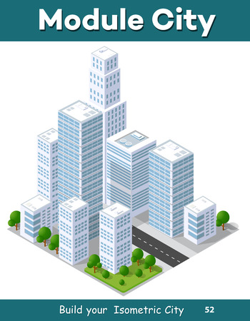 industrial park: 3D isometric city landscape of skyscrapers, houses, gardens and streets in a three-dimensional top view