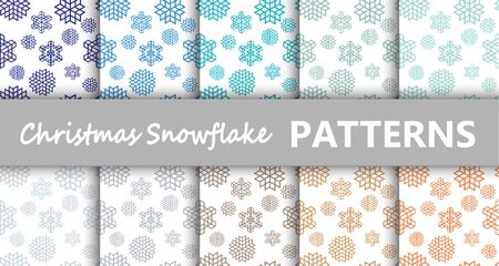 Christmas pastel snowflake retro vector patterns tiling. Endless texture can be used for printing onto fabric and paper or scrap booking, surface textile, web page background. New Year abstract shapes.