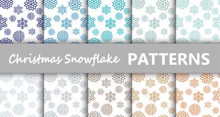 Navidad pastel copo de nieve retro vector patrones de embaldosado. La textura sin fin se puede utilizar para imprimir sobre tela y papel o sobre chatarra, textil de superficie, fondo de página web. Año nuevo formas abstractas. Ilustración de vector