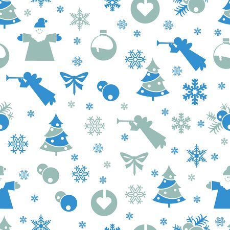 Christmas seamless pastel retro vector patterns tiling. Endless texture can be used for printing onto fabric and paper or scrap booking, surface textile, web page background. New Year abstract shapes.