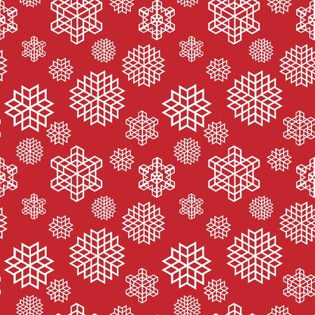 Christmas seamless snowflake retro vector patterns tiling. Endless texture can be used for printing onto fabric and paper or scrap booking, surface textile, web page background. Illustration