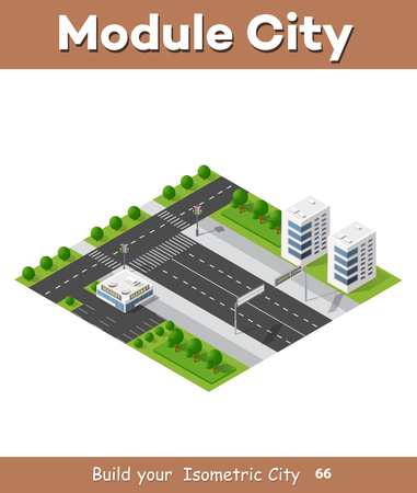High-speed highway in 3D big city business quarter of the city