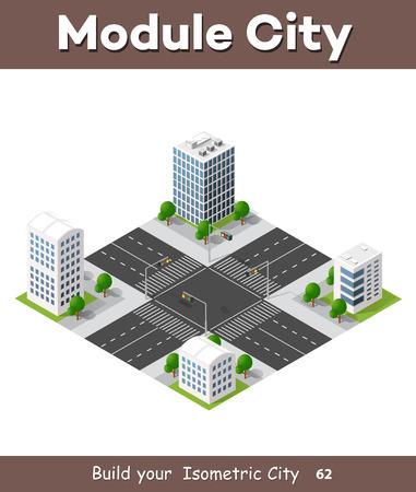 topografia: El cruce 3D de la gran ciudad con los pasos de peatones y semáforos Vectores