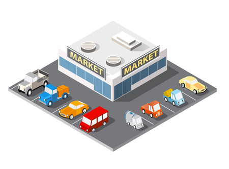 Large supermarket shopping 3d commercial center with shops and offices with parking a big city car