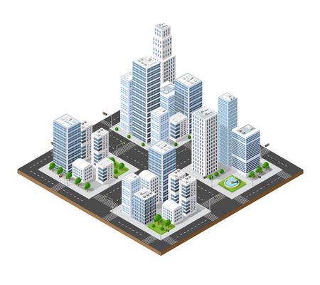 Isometrischen Perspektive Stadt mit Straßen, Häuser, Wolkenkratzer, Parks und Bäume