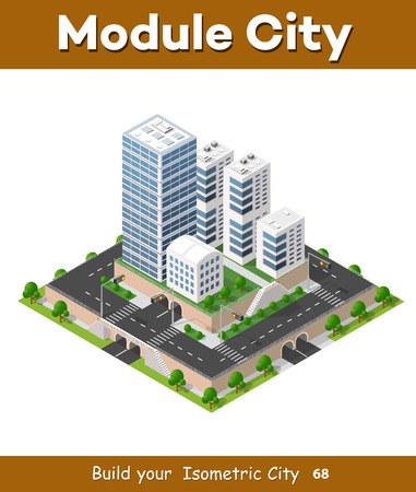 Flat 3d isometric urban city infographic concept. Township center map with buildings, shops and roads on the plane. Illustration