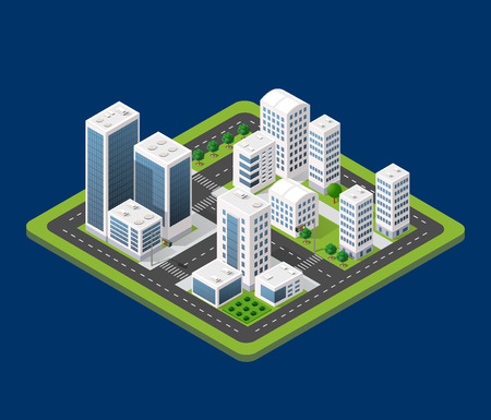 industrial park: Flat 3d isometric urban city infographic concept. Township center map with buildings, shops and roads on the plane. Illustration