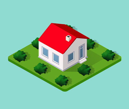 country house: Town House in isometric view with trees and garden Illustration