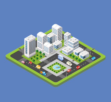 Flat 3d isometric urban city infographic concept. Township center map with buildings, shops and roads on the plane. Ilustração