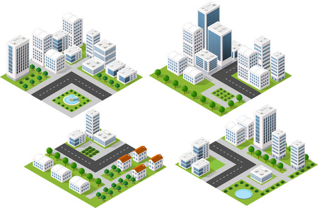 Set 3d isometric three-dimensional city with houses, skyscrapers, buildings and streets with traffic. Top view of urban infrastructure for the creation and design. Illustration