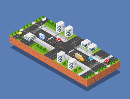 urban street: 3d isometric three-dimensional urban transport street with houses, skyscrapers. Top view of the city district