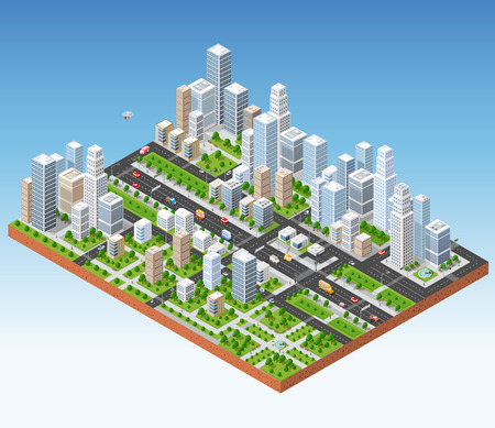 city view: Megapolis 3d isometric three-dimensional view of the city. Collection of houses, skyscrapers, buildings, built and supermarkets with streets and traffic. The stock vector Illustration