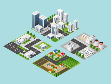 3d model: Set 3d isometric three-dimensional city with houses, skyscrapers, buildings and streets with traffic. Top view of urban infrastructure for the creation and design. Illustration