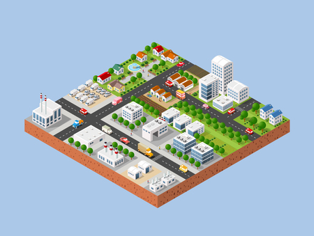 3d isometric three-dimensional city with houses, skyscrapers, buildings and streets with traffic. Top view of urban infrastructure for the creation and design