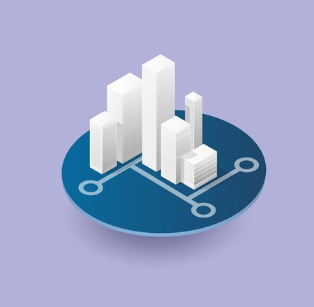modern house: Isometric 3D city icon with houses, skyscrapers, buildings for Web sites and applications