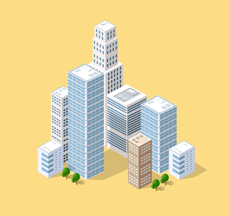 Neighborhood 3d isometric three-dimensional view of the city. Collection of houses, skyscrapers, buildings and supermarkets. The stock vector Illustration