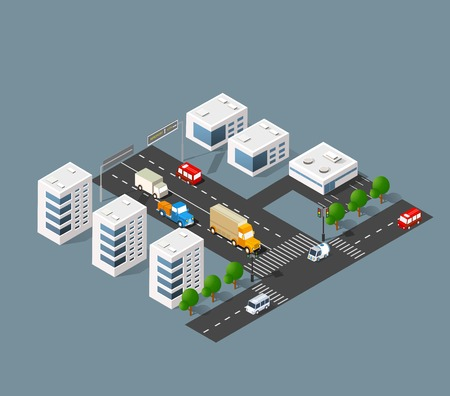 urban district: 3d isometric three-dimensional urban transport street with houses, skyscrapers. Top view of the city district