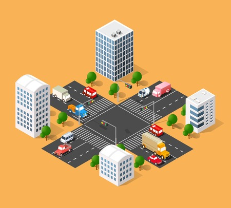 3d isometric three-dimensional urban transport street with houses, skyscrapers. Top view of the city district