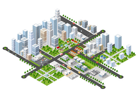 Megapolis 3d isometric three-dimensional view of the city. Collection of houses, skyscrapers, buildings, built and supermarkets with streets and traffic. The stock vector Illustration