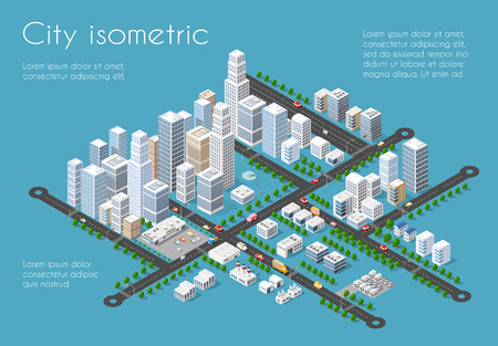 Transportation 3D city streets intersection with houses and trees. Isometric view from above on a city transport Vectores