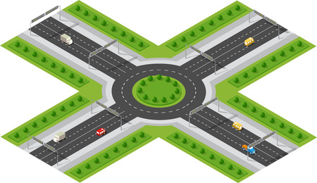 lorries: Transportation City streets intersection with houses and trees. Isometric view from above on a city transport