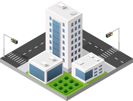 Isometric city with skyscrapers with houses, streets and buildings. Navigation pointer arrow direction of movement and travel.